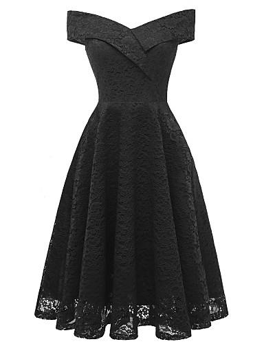 billige Maxikjoler-A-linje Løse skuldre Telang Blonder Vintage Inspireret Skoleball Kjole med Blondeinnlegg av LAN TING Express