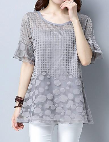 billige Topper til damer-Store størrelser T-skjorte Dame - Geometrisk, Blonde Grunnleggende Svart / Vår / Sommer / Høst
