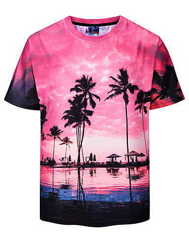 cheap Men's Tees & Tank Tops-Men's EU / US Size T-shirt - Color Block / 3D Print Round Neck Fuchsia L