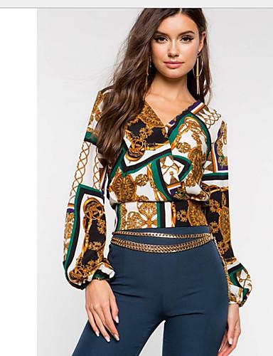 abordables Camisas y Camisetas para Mujer-Mujer Boho Retazos Camisa Gráfico Verde Trébol M
