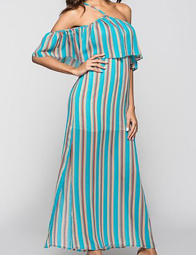 a83aa32db550 dámské maxi řazení šaty ohlávku krk červené modré s m l xl