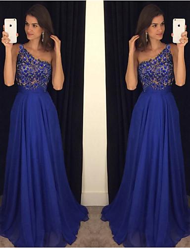 abordables Robes Femme-Femme Maxi Tee Shirt Robe - Dentelle Tulle, Couleur Pleine Une Epaule Bleu M L XL Sans Manches