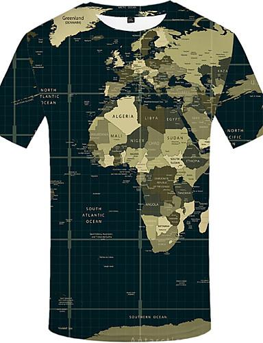 cheap Men's Tees & Tank Tops-Men's T-shirt - 3D Print Army Green XXXL