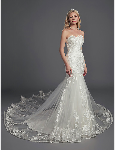 6f1e874e2f595 Mermaid / Trumpet Strapless Cathedral Train Lace / Tulle Made-To-Measure Wedding  Dresses with Appliques / Lace by LAN TING BRIDE® / Sparkle & Shine
