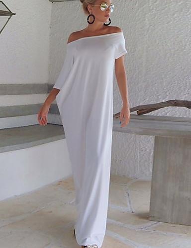 abordables Robes Femme-Femme Basique Maxi Balançoire Robe - Mosaïque, Couleur Pleine Blanc Noir M L XL Manches Courtes