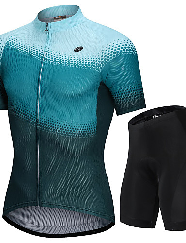 cheap Cycling Clothing-Nuckily Men's Short Sleeve Cycling Jersey with Shorts - Green Gradient Bike Clothing Suit Breathable Sports Polyester Spandex Spots & Checks Mountain Bike MTB Road Bike Cycling Clothing Apparel