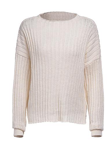 billige Dametopper-Dame Ensfarget Langermet Pullover, Rund hals Høst / Vinter Blå / Beige / Gul M / L / XL