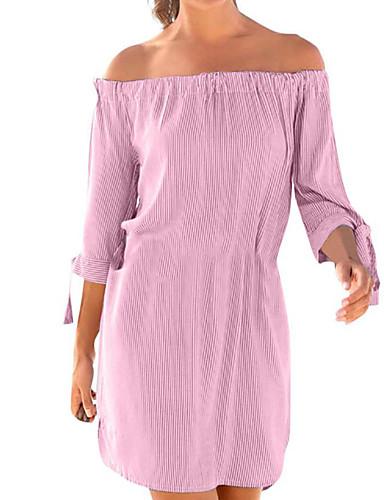 Bello Per Donna Essenziale Camicia Vestito - Collage, Tinta Unita A Strisce Asimmetrico #07311418 Alta Qualità E Poco Costoso