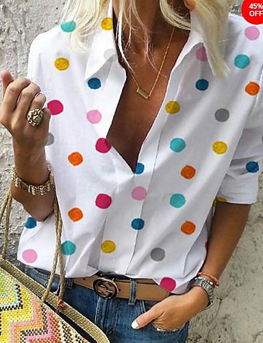 billige Dametopper-V-hals Skjorte Dame - Polkadotter, Trykt mønster Hvit