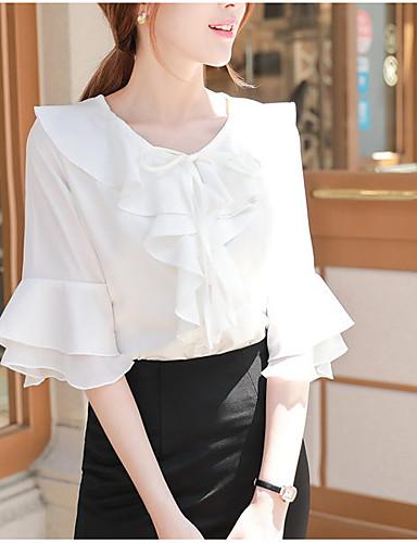 0a5c61aeea abordables Camisas y Camisetas para Mujer-Mujer Blusa Un Color Blanco L. Mujer  Blusa Un Color Blanco L