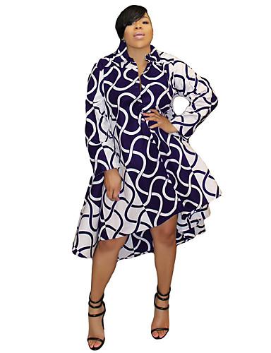 voordelige Grote maten jurken-Dames Verfijnd Overhemd Jurk - Gestreept, Print Asymmetrisch