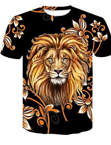 cheap Men's Tees & Tank Tops-Men's Plus Size T-shirt - 3D / Plaid / Animal Print Round Neck Black XXL