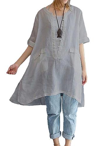 povoljno Majica-Veći konfekcijski brojevi Majica Žene Jednobojni Širok kroj Crn