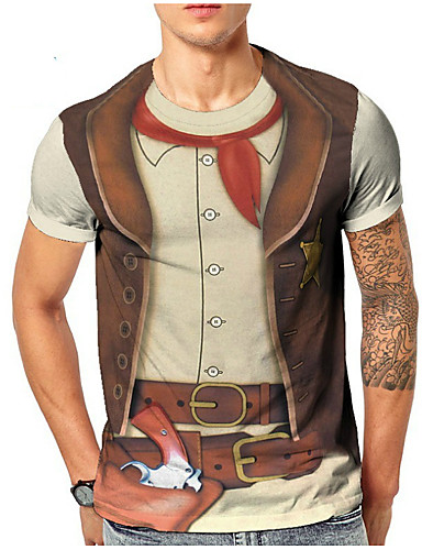 voordelige Heren T-shirts & tanktops-Heren EU / VS maat - T-shirt 3D Ronde hals Beige