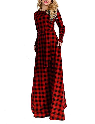 9fe09b32e9b Γυναικεία Βασικό Εκλεπτυσμένο Swing Φόρεμα - Καρό, Κορδόνι Μακρύ