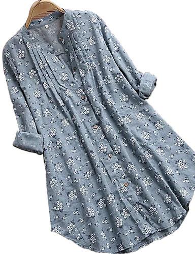 billige Topper til damer-Bomull Løstsittende Skjortekrage Skjorte Dame - Blomstret, Flettet Blå