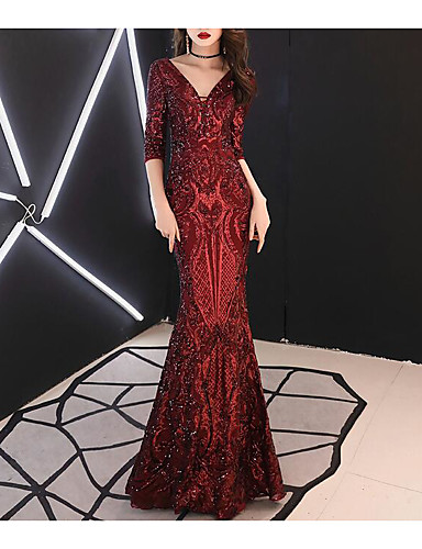cheap Evening Dresses-Mermaid / Trumpet V Neck Floor Length Sequined Dress with Sequin by LAN TING Express