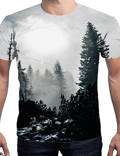 voordelige Herenbovenkleding-Heren Print T-shirt 3D Grijs XL