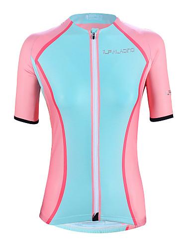 cheap Cycling Clothing-ILPALADINO Women's Short Sleeve Cycling Jersey - Blue+Pink Plus Size Bike Top UV Resistant Breathable Moisture Wicking Sports Elastane Terylene Mountain Bike MTB Road Bike Cycling Clothing Apparel