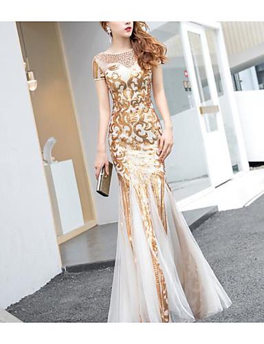 povoljno Sirena haljine-Sirena kroj Ovalni izrez Do poda Til / Sa šljokicama Haljina s Šljokice / Kristalni detalji po LAN TING Express