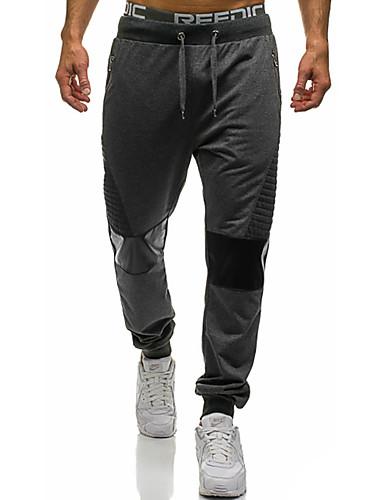 abordables Pantalones de hombre-Hombre Básico Pantalones de Deporte Pantalones - Un Color Negro