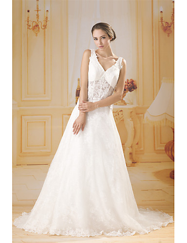 cheap Wedding Dresses-A-Line V Neck Court Train Lace / Tulle Made-To-Measure Wedding Dresses with Lace by ANGELAG