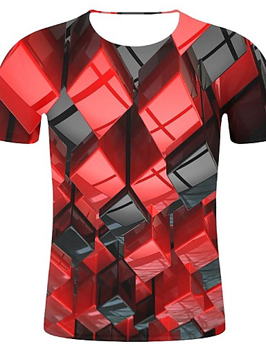 cheap Men's Clothing-Men's T-shirt - Geometric / 3D / Graphic Print Red XXL