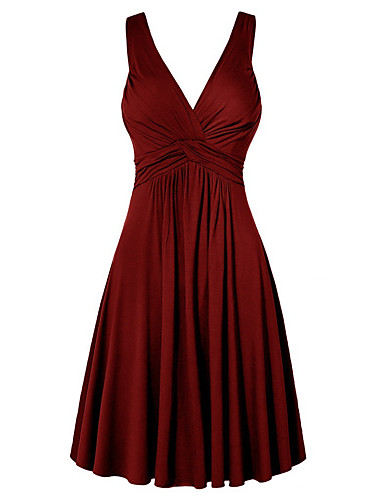 hesapli Kadın Elbiseleri-Kadın's Büyük Bedenler Temel Kombinezon Elbise - Solid V Yaka Mini Yüksek Bel