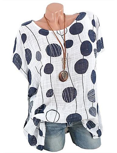 hesapli Tişört-Kadın's Tişört Solid / Yuvarlak Noktalı / Geometrik Temel Büyük Bedenler Doğal Pembe