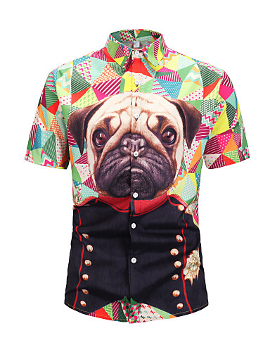 cheap Men's Shirts-Men's Casual Daily Wear Basic EU / US Size Shirt - Color Block / Graphic / Animal Print Round Neck Rainbow L / Short Sleeve