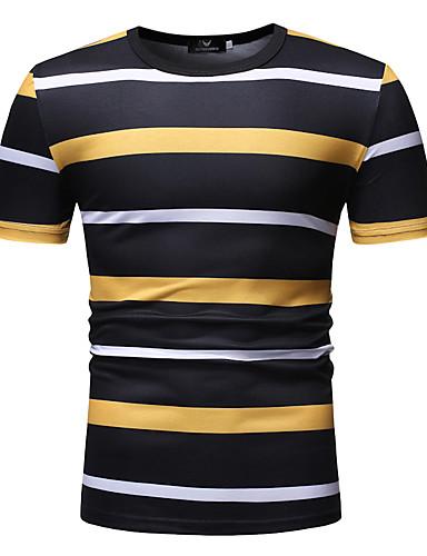 voordelige Heren T-shirts & tanktops-Heren Informeel T-shirt Ruitjes Ronde hals Klaver