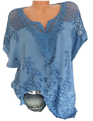 povoljno Ženske majice-Veći konfekcijski brojevi Majica Žene Jednobojni V izrez Širok kroj Crn