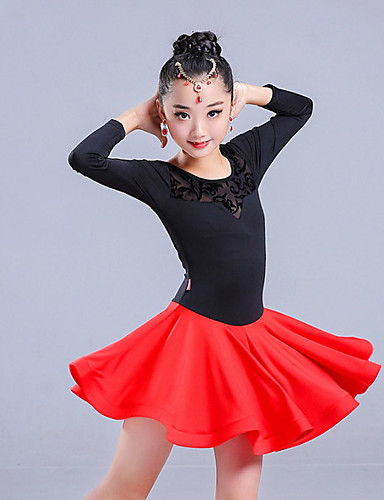 c84d37d3f5 Dança Latina Vestidos Para Meninas Espetáculo Acrílico Renda Manga Longa  Natural Vestido