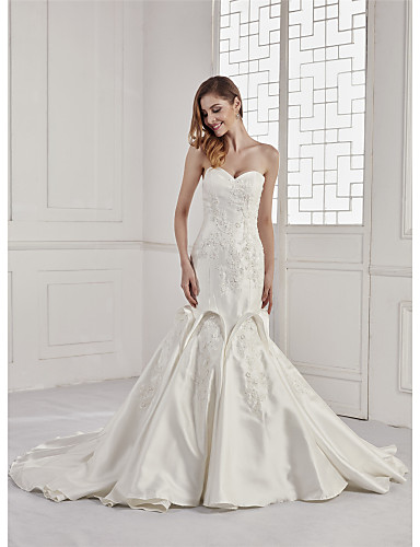 5daa73141b4 Mermaid   Trumpet Sweetheart Neckline Chapel Train Lace   Satin  Made-To-Measure Wedding Dresses with Beading   Appliques   Lace by ANGELAG