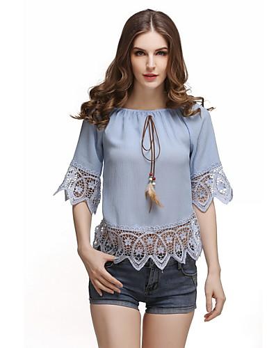 billige Dametopper-Løse skuldre Skjorte Dame - Ensfarget, Lapper / Lace Trim Hvit