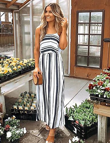 fa8135b56 cheap Maxi Dresses-Women  039 s Elegant Sheath Dress - Striped White Black
