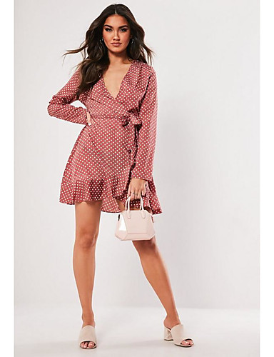 cheap TS@ Clothing-TS@ Women's Street chic Elegant A Line Dress - Polka Dot Peplum Blushing Pink M L XL