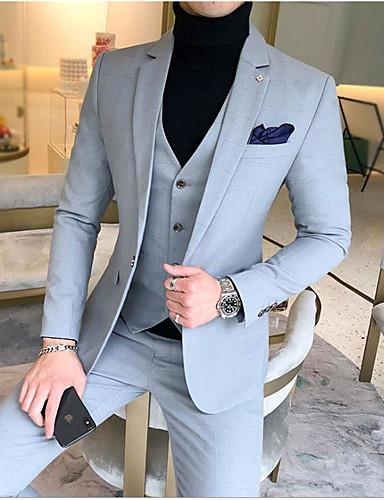 preiswerte Anzüge-Himmelblau / Königsblau / Lavendel Solide Schlanke Passform Baumwolle Anzug - Fallendes Revers Einreiher - 1 Knopf