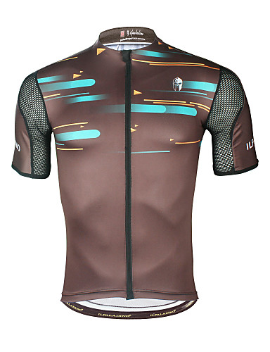 cheap Cycling Clothing-ILPALADINO Men's Short Sleeve Cycling Jersey - Brown Stripes Bike Top UV Resistant Breathable Moisture Wicking Sports Elastane Terylene Mountain Bike MTB Road Bike Cycling Clothing Apparel / Stretchy
