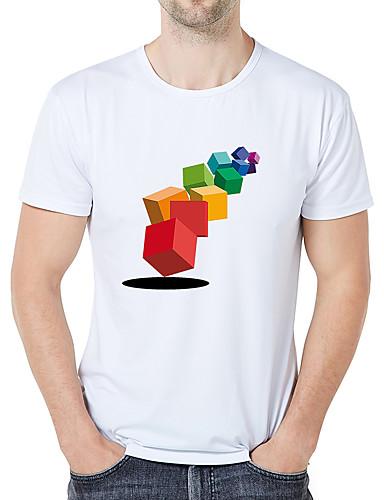 billige T-shirts og undertrøjer til herrer-Rund hals Tynd Herre - Grafisk / Tegneserie / camouflage Trykt mønster Forretning / Vintage Plusstørrelser T-shirt Hvid XXL / Kortærmet