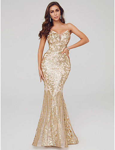 cheap Mermaid Dresses-Mermaid / Trumpet Spaghetti Strap Sweep / Brush Train Sequined Formal Evening Dress with Sequin by TS Couture®