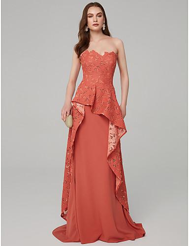757dd0aea5d7 Γραμμή Α Στράπλες Μακρύ Δαντέλα   Ζέρσεϊ Επίσημο Βραδινό Φόρεμα με Βολάν με  TS Couture®