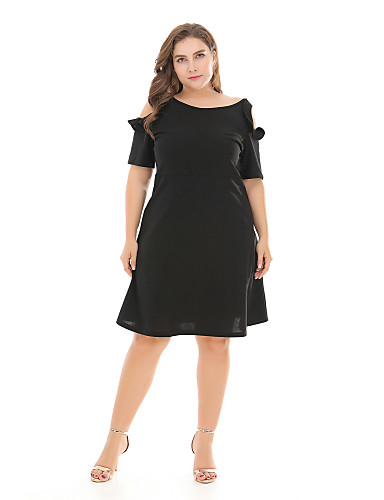 5694f8f80 Women's Basic A Line Dress - Solid Colored Cut Out Patchwork Black Orange  XL XXL XXXL