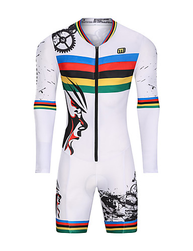 cheap Cycling Clothing-Malciklo Men's Women's Long Sleeve Triathlon Tri Suit - White Floral Botanical Bike UV Resistant Breathable Moisture Wicking Quick Dry Reflective Strips Sports Geometric Triathlon Clothing Apparel