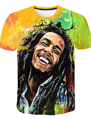 cheap Men's Tees & Tank Tops-Men's Daily Street Basic Plus Size T-shirt - 3D / Portrait Print Round Neck Rainbow XXXXL / Short Sleeve
