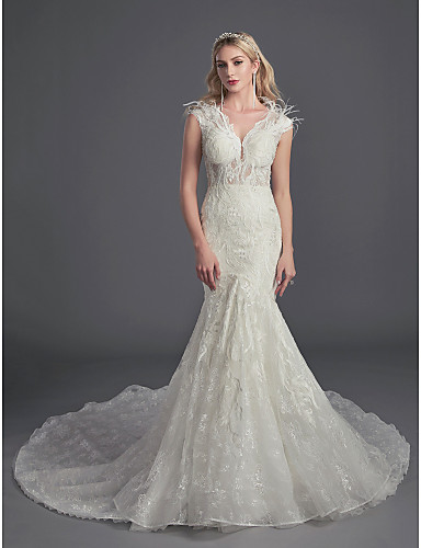 cheap Wedding Dresses-Mermaid / Trumpet Illusion Neck Cathedral Train Lace Made-To-Measure Wedding Dresses with Beading / Feathers / Fur / Lace by LAN TING BRIDE®