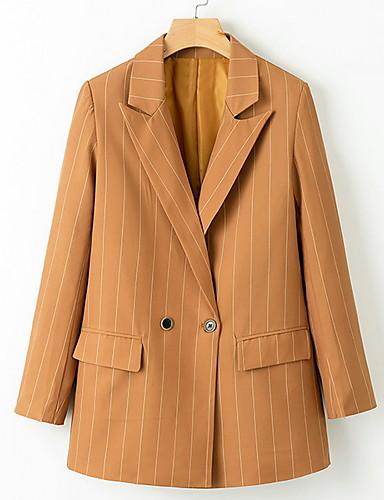 abordables Manteaux & Vestes Femme-Femme Blazer Revers en Pointe Polyester Kaki S / M / L