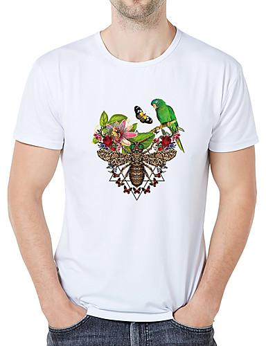 voordelige Heren T-shirts & tanktops-Heren Zakelijk / Vintage Print Grote maten - T-shirt dier / Cartoon / camouflage Ronde hals Slank Wit / Korte mouw