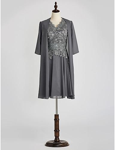 voordelige Wrap Dresses-A-lijn V-hals Tot de knie Chiffon / Kant Bruidsmoederjurken met Kristaldetails / Kant door LAN TING BRIDE® / Bel / Wrap inbegrepen