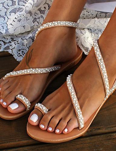 povoljno Ženske sandale-Žene Eko koža Ljeto slatko / minimalizam Sandale Ravna potpetica Otvoreno toe Umjetni biser Braon / Vjenčanje